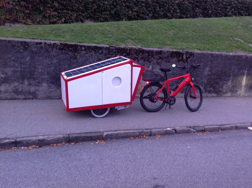 Bike Camper Trailer El Patu Bike Caravan Folded See The Big Solar Panel For The